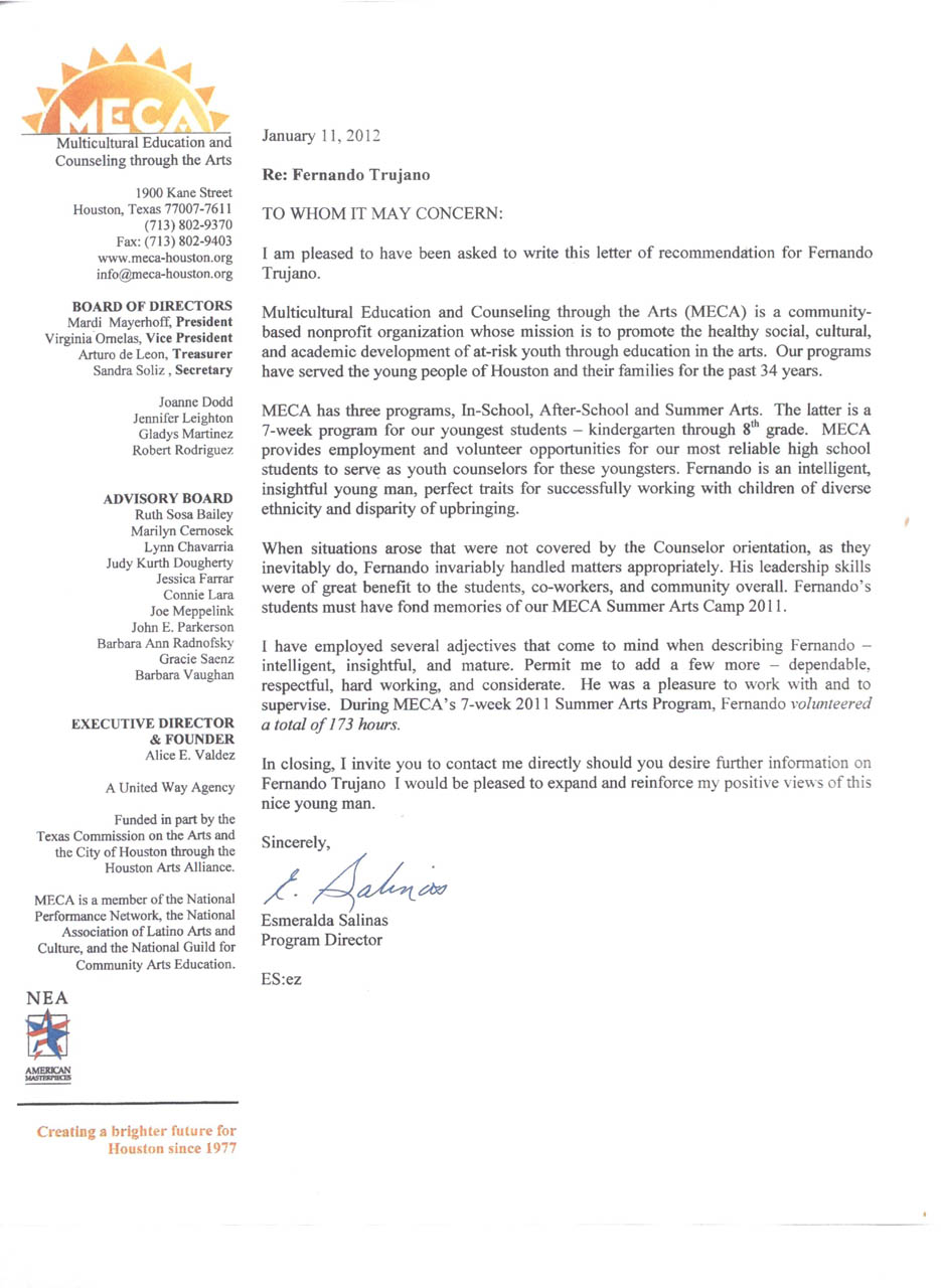 recommendation letter for student summer camp cover